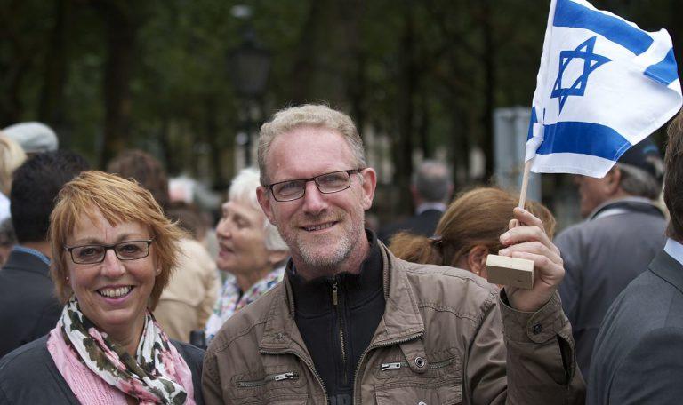 """מתוך הפגנה של """"נוצרים למען ישראל"""" בהאג ב-2011 (אתר הארגון)"""